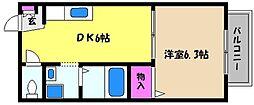 兵庫県芦屋市清水町の賃貸アパートの間取り