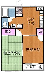 都電荒川線 小台駅 徒歩3分の賃貸マンション 3階2DKの間取り