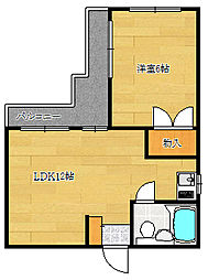 兵庫県神戸市兵庫区新開地3丁目の賃貸マンションの間取り