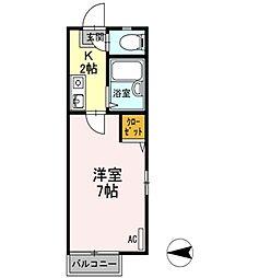 広島県東広島市高屋町中島の賃貸アパートの間取り