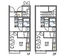 レオパレスやなぎ荘 第一[2階]の間取り