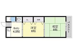 アローハイツ 3階2DKの間取り