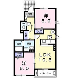 愛知県名古屋市瑞穂区洲山町3丁目の賃貸アパートの間取り
