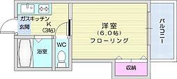 仙台市地下鉄東西線 川内駅 徒歩8分の賃貸アパート 1階1Kの間取り