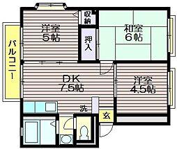 東京都世田谷区北烏山3の賃貸マンションの間取り