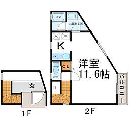 久々知アパート[2階]の間取り