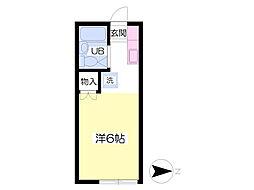 阿武隈急行 福島学院前駅 徒歩22分の賃貸アパート 2階ワンルームの間取り