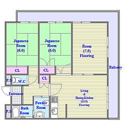 レジデンスエイト[4階]の間取り