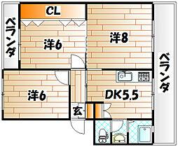 井堀南団地3棟[0203号室]の間取り