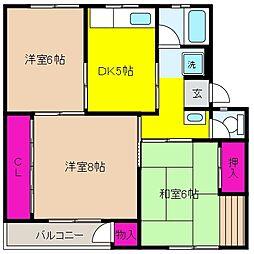 渦ヶ森コーポ6号館[5階]の間取り