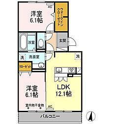 静岡県御殿場市西田中の賃貸アパートの間取り