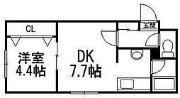 北海道札幌市豊平区平岸三条12丁目の賃貸マンションの間取り