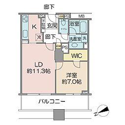 ザ・タワー・グランディア 14階1LDKの間取り