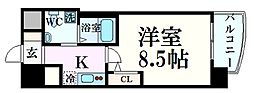 阪神本線 西宮駅 徒歩4分の賃貸マンション 4階1Kの間取り