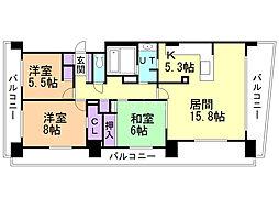 クルーザーバレータワーS2 19階3LDKの間取り