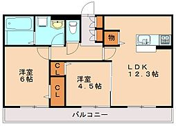 D-room西長住 弐番館[1階]の間取り