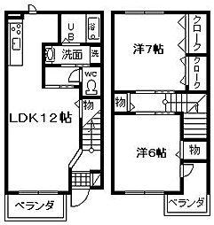 [テラスハウス] 大阪府岸和田市神須屋町 の賃貸【/】の間取り