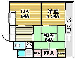 浜寺諏訪ノ森荘[2--号室]の間取り