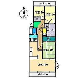 城山清涼ハイツ3号棟[1階]の間取り