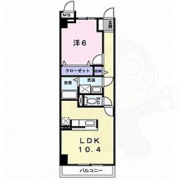 メディカル松下南EX 4階1LDKの間取り