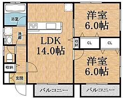 千葉県千葉市緑区あすみが丘東3の賃貸アパートの間取り