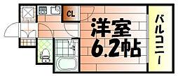 ライオンズマンション三萩野駅前[6階]の間取り