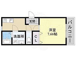 JR阪和線 上野芝駅 徒歩2分の賃貸アパート 1階1Kの間取り