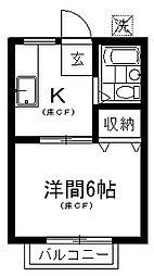 メゾン秋山 1階1Kの間取り
