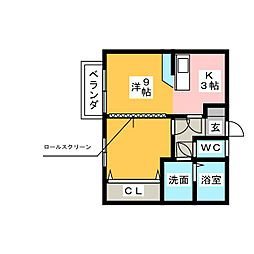 コーポスズキ2[1階]の間取り