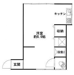 東京都渋谷区上原2丁目の賃貸アパートの間取り