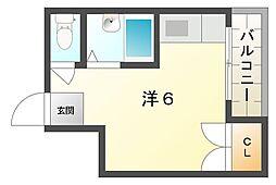 ニューハイツ桜II 1階ワンルームの間取り