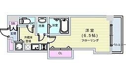 JR大阪環状線 芦原橋駅 徒歩2分の賃貸マンション 6階1Kの間取り