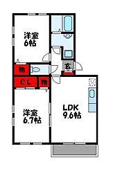 メゾンドクレール門松B[2階]の間取り