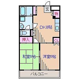神奈川県横浜市鶴見区東寺尾2丁目の賃貸マンションの間取り