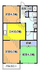 東京都東村山市美住町2丁目の賃貸マンションの間取り