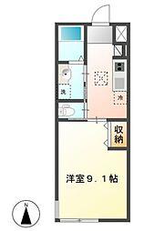西武秩父線 東飯能駅 徒歩14分の賃貸アパート 1階1Kの間取り