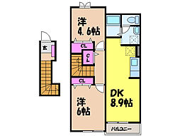 愛媛県伊予市米湊の賃貸アパートの間取り