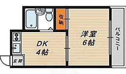 トレンディー鶴見 2階1DKの間取り