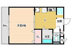 JPアパートメント柏原[1階]の間取り
