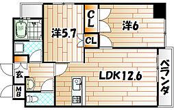 エイチエヌ石坪[3階]の間取り