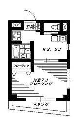東京都中野区沼袋2丁目の賃貸マンションの間取り