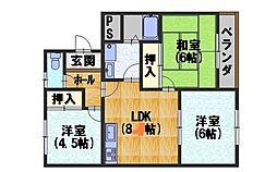 カーサIKUSHIMA[407号室]の間取り