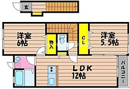 岡山県倉敷市玉島長尾丁目なしの賃貸アパートの間取り