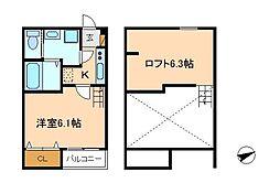 千葉県松戸市南花島2の賃貸アパートの間取り