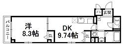 京都府京都市下京区材木町の賃貸マンションの間取り
