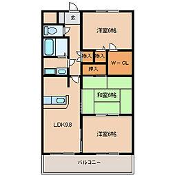 東京都東大和市芋窪1丁目の賃貸マンションの間取り