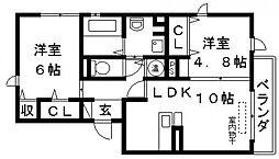 グレースD棟[201号室号室]の間取り