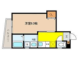 阪神本線 打出駅 徒歩3分の賃貸マンション 2階1Kの間取り