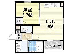 近鉄南大阪線 矢田駅 徒歩12分の賃貸アパート 2階1LDKの間取り