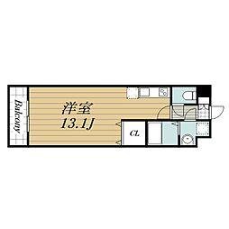 JR総武線 稲毛駅 徒歩15分の賃貸マンション 2階ワンルームの間取り